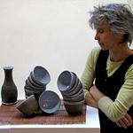 Sylvie Chauvin, potière, bols et gobelets en terre noire